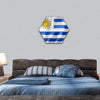 Uruguay Flag On Satin Texture Hexagonal Canvas Wall Art 1 Hexa / Small / Gallery Wrap Tiaracle