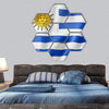 Uruguay Flag On Satin Texture Hexagonal Canvas Wall Art 7 Hexa / Small / Gallery Wrap Tiaracle
