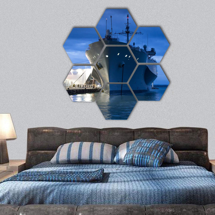 US Navy Vessel Hexagonal Canvas Wall Art 1 Hexa / Small / Gallery Wrap Tiaracle