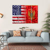 USA And Montenegro Flag Canvas Wall Art-4 Horizontal-Small-Gallery Wrap-Tiaracle