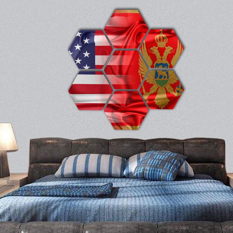 USA And Montenegro Flag Hexagonal Canvas Wall Art 1 Hexa / Small / Gallery Wrap Tiaracle
