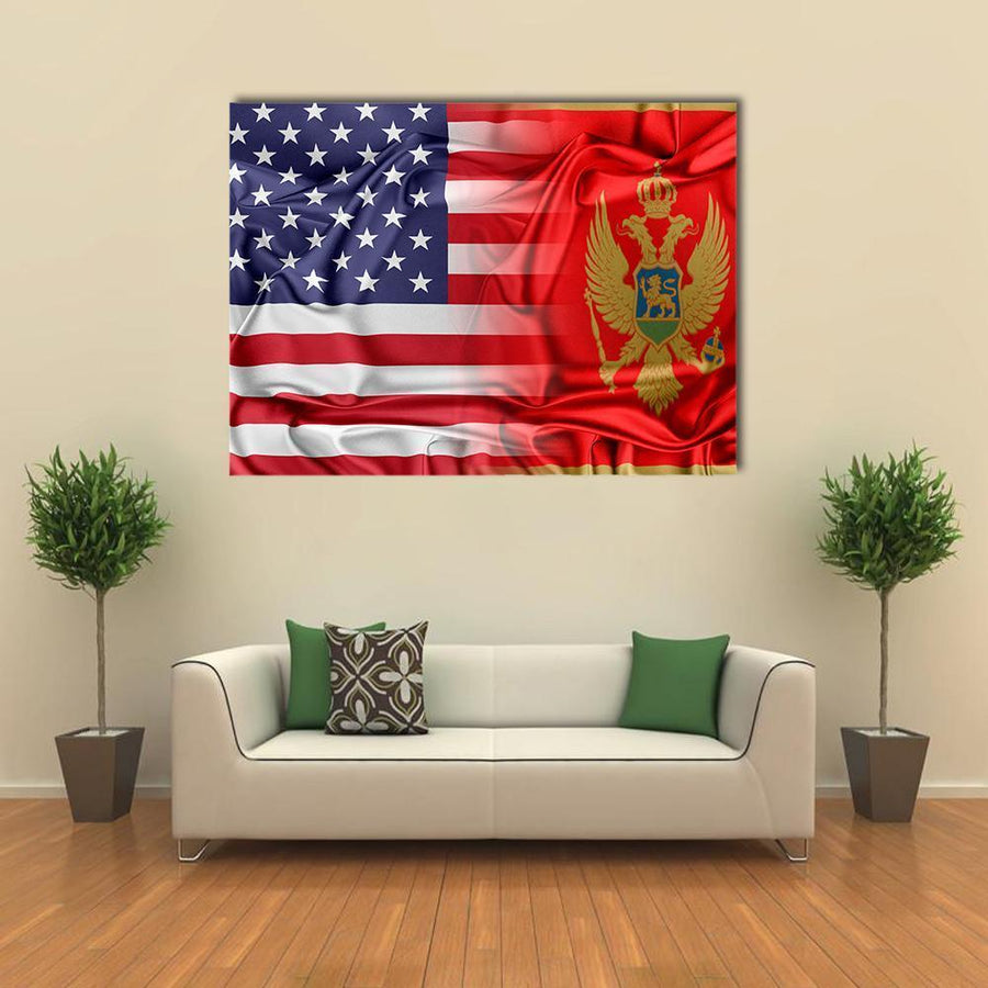 USA And Montenegro Flag Multi Panel Canvas Wall Art 5 Pieces(A) / Medium / Canvas Tiaracle
