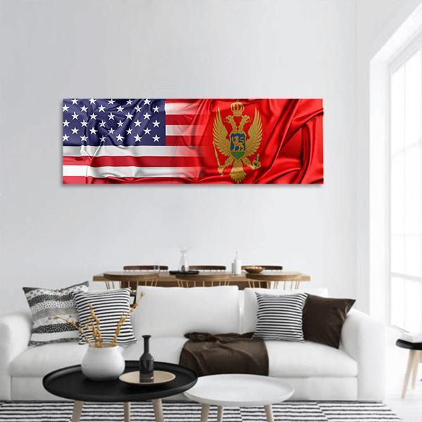 USA And Montenegro Relation Panoramic Canvas Wall Art 3 Piece / Small Tiaracle
