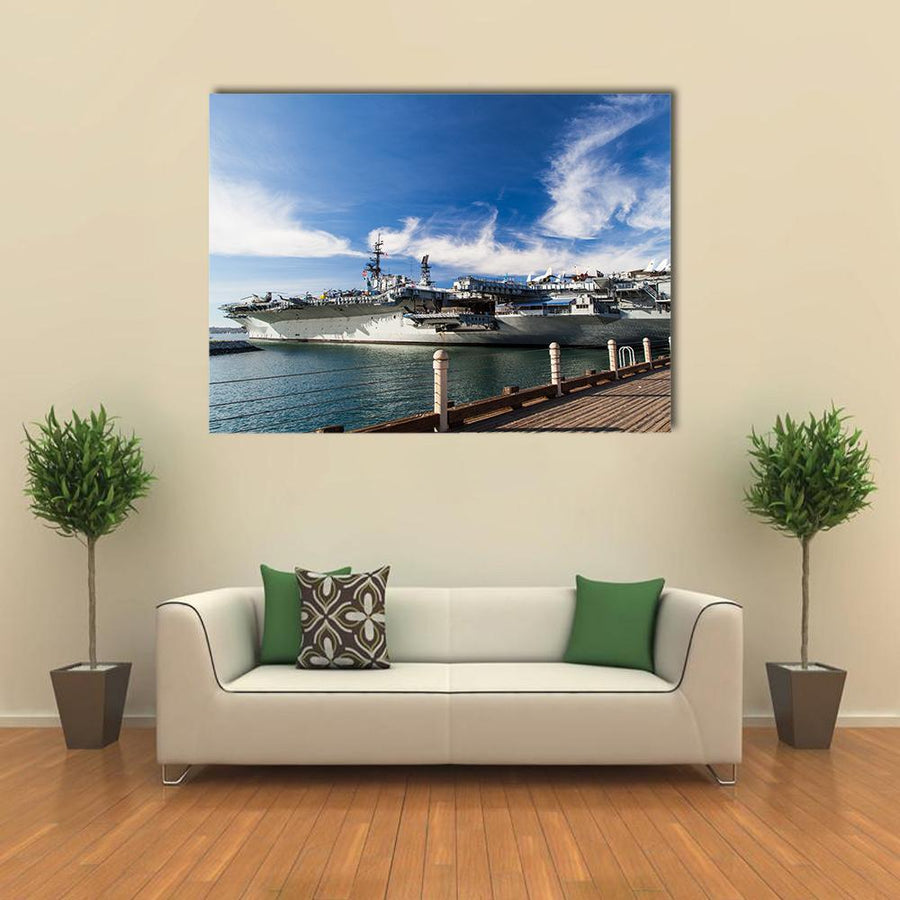 USS Midway Aircraft Carrier Multi Panel Canvas Wall Art 4 Pieces / Medium / Canvas Tiaracle