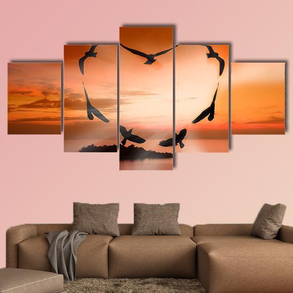Valentine Bird Multi Panel Canvas Wall Art 3 Pieces / Small / Gallery Wrap Tiaracle