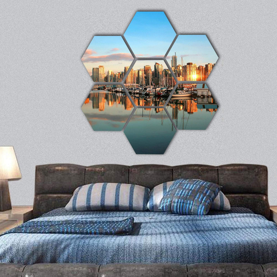 Vancouver Skyline At Sunset Hexagonal Canvas Wall Art 1 Hexa / Small / Gallery Wrap Tiaracle
