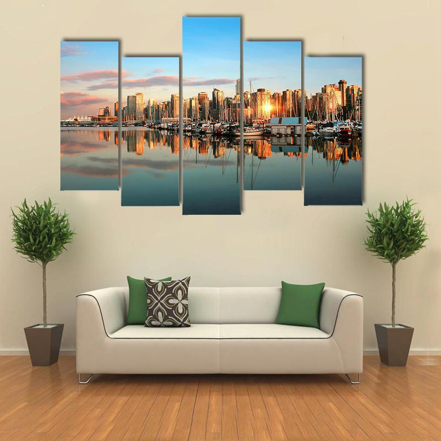 Vancouver Skyline Panorama At Sunset Multi Panel Canvas Wall Art 1 Piece / Medium / Canvas Tiaracle