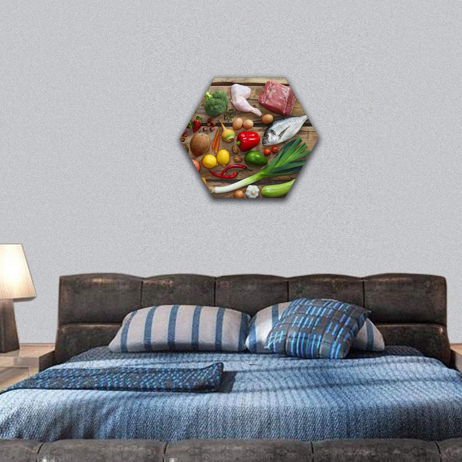 Various Paleo Diet Products On Wooden Table Hexagonal Canvas Wall Art 7 Hexa / Small / Gallery Wrap Tiaracle