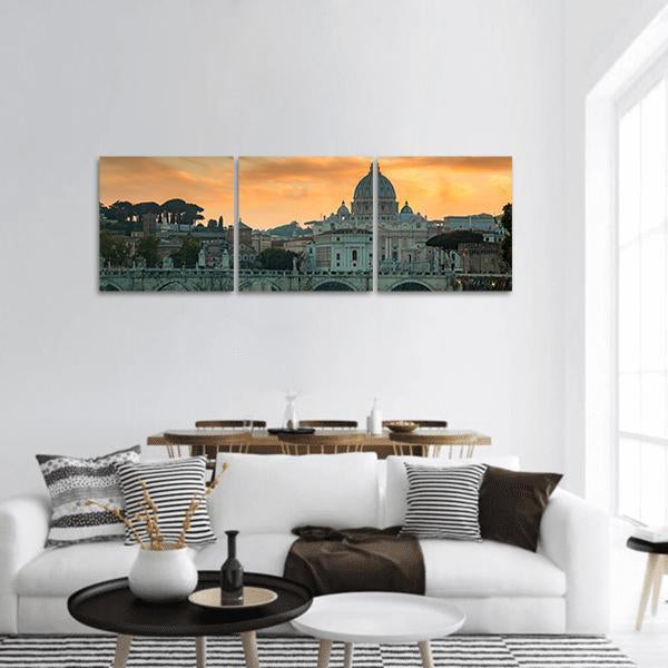 Vatican City At Sunset Panoramic Canvas Wall Art 1 Piece / Small Tiaracle