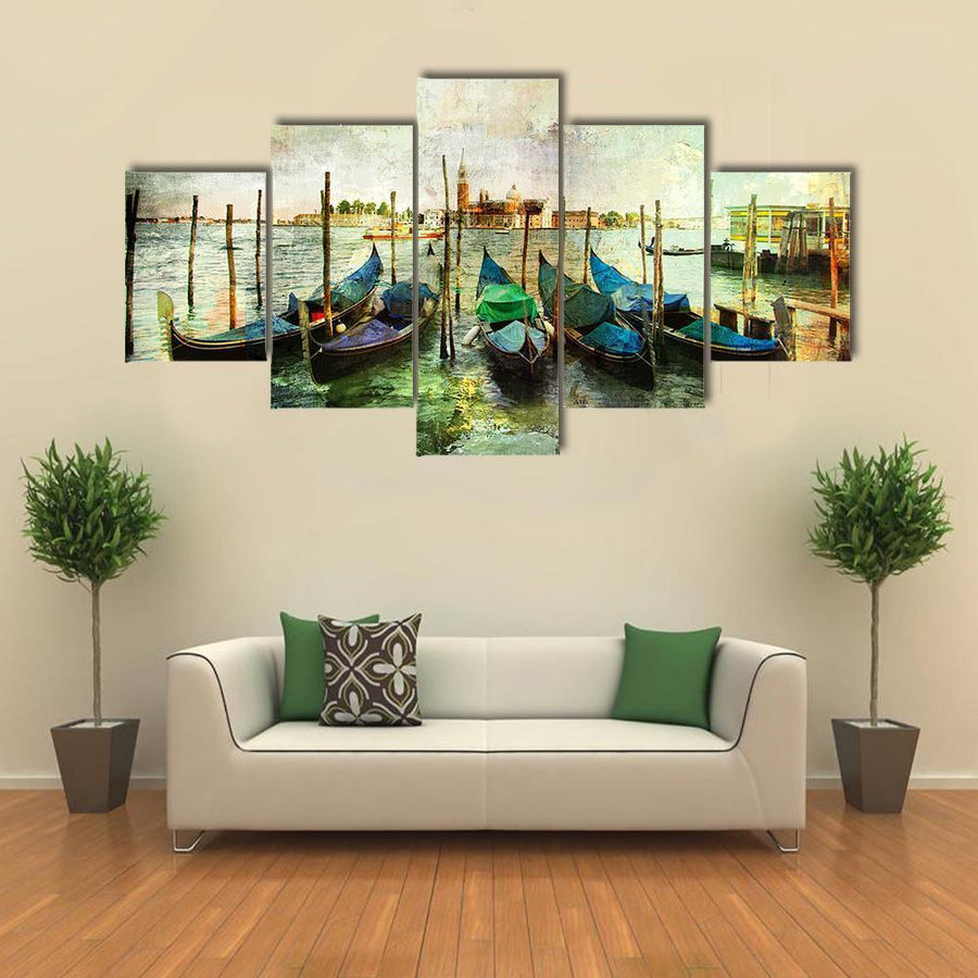 Venetian Gondolas - Painting Style Canvas Panel Painting Tiaracle