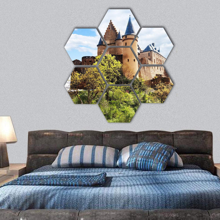 Vianden Castle Fortifications Hexagonal Canvas Wall Art 1 Hexa / Small / Gallery Wrap Tiaracle