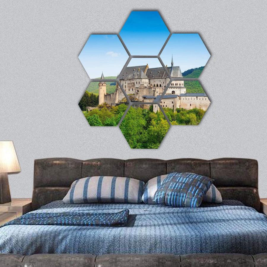 Vianden Luxembourg Castle In Mountains Hexagonal Canvas Wall Art 1 Hexa / Small / Gallery Wrap Tiaracle