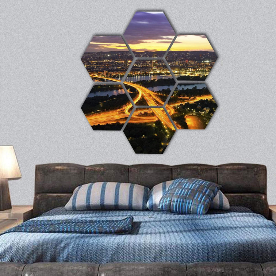 Vienna With Danube River Island Donauinsel Hexagonal Canvas Wall Art Tiaracle
