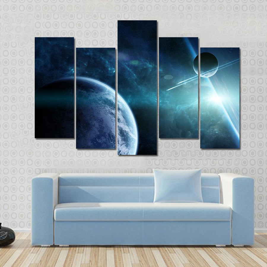 View Of A Distant Planet System From Space Canvas Panel Painting Tiaracle