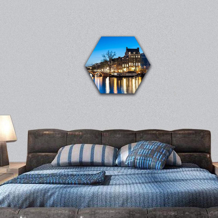 View Of Amsterdam By Night Hexagonal Canvas Wall Art 7 Hexa / Small / Gallery Wrap Tiaracle