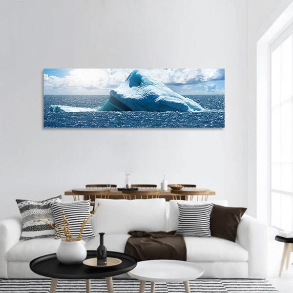 View Of Atlantic Ocean Panoramic Canvas Wall Art 3 Piece / Small Tiaracle