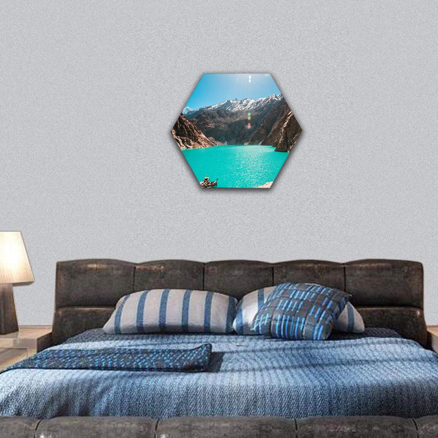 View Of Attabad Lake in Northern Pakistan Hexagonal Canvas Wall Art 7 Hexa / Small / Gallery Wrap Tiaracle