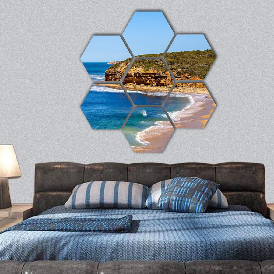 View Of Bells Beach Hexagonal Canvas Wall Art 1 Hexa / Small / Gallery Wrap Tiaracle