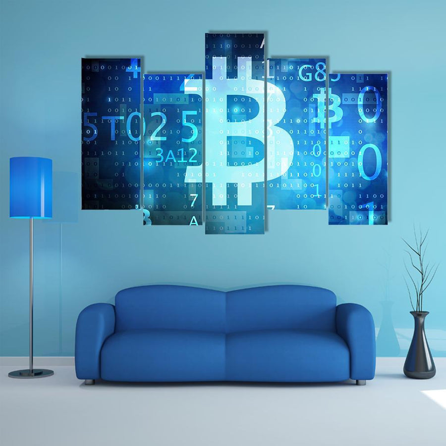View Of Bitcoin Multi Panel Canvas Wall Art 5 Pieces(B) / Medium / Canvas Tiaracle