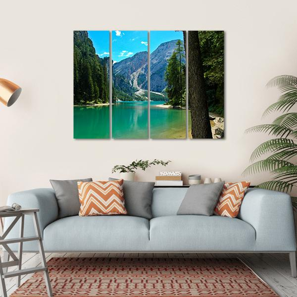 View Of Braies Lake And Croda Del Becco Multi Panel Canvas Wall Art 1 Piece / Small / Gallery Wrap Tiaracle