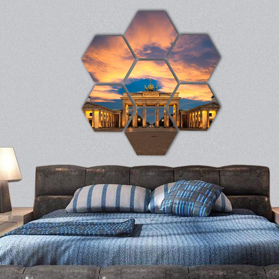 View Of Brandenburg Gate In Germany Hexagonal Canvas Wall Art 1 Hexa / Small / Gallery Wrap Tiaracle