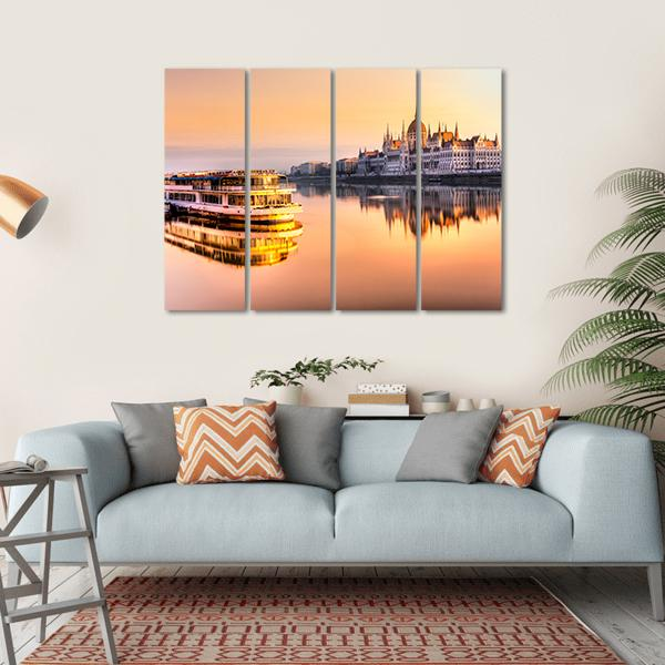 View Of Budapest Parliament At Sunrise Multi Panel Canvas Wall Art 1 Piece / Small / Gallery Wrap Tiaracle