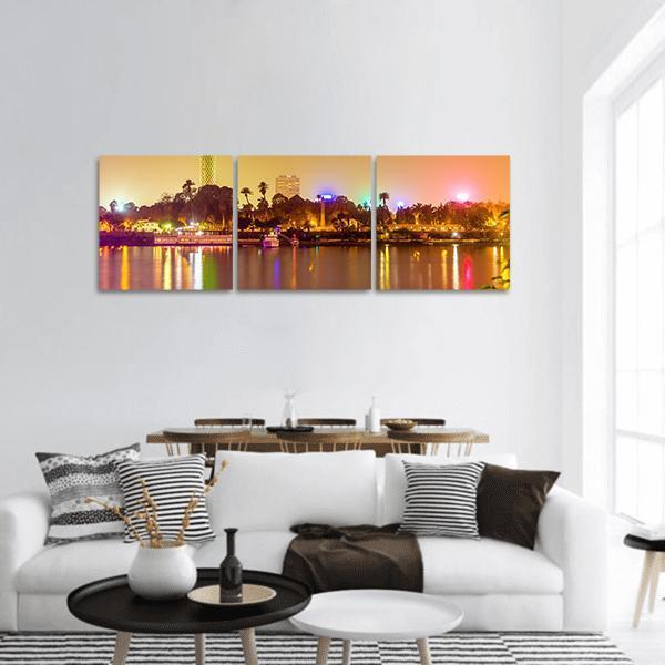 View Of Cairo In Evening Panoramic Canvas Wall Art Tiaracle