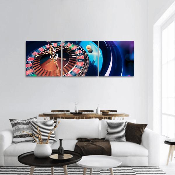 View Of Casino Roulette Panoramic Canvas Wall Art 1 Piece / Small Tiaracle