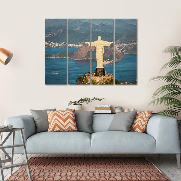 View Of Christ And Botafogo Bay Canvas Wall Art-1 Piece-Small-Gallery Wrap-Tiaracle