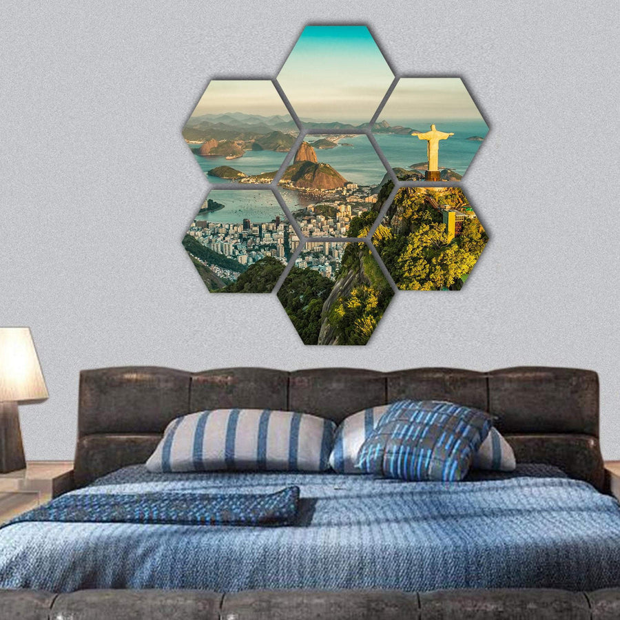 View Of Christ And Botafogo Bay Hexagonal Canvas Wall Art 1 Hexa / Small / Gallery Wrap Tiaracle