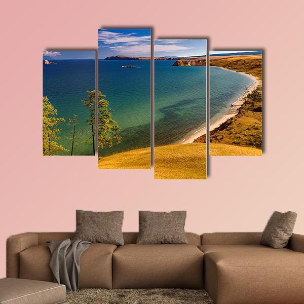 View Of Coast Of Baikal Lake Multi Panel Canvas Wall Art 3 Pieces / Small / Gallery Wrap Tiaracle