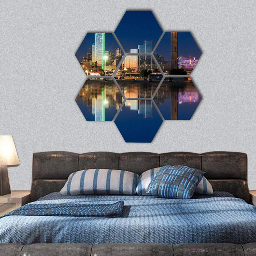 View Of Dallas Skyline Hexagonal Canvas Wall Art 1 Hexa / Small / Gallery Wrap Tiaracle