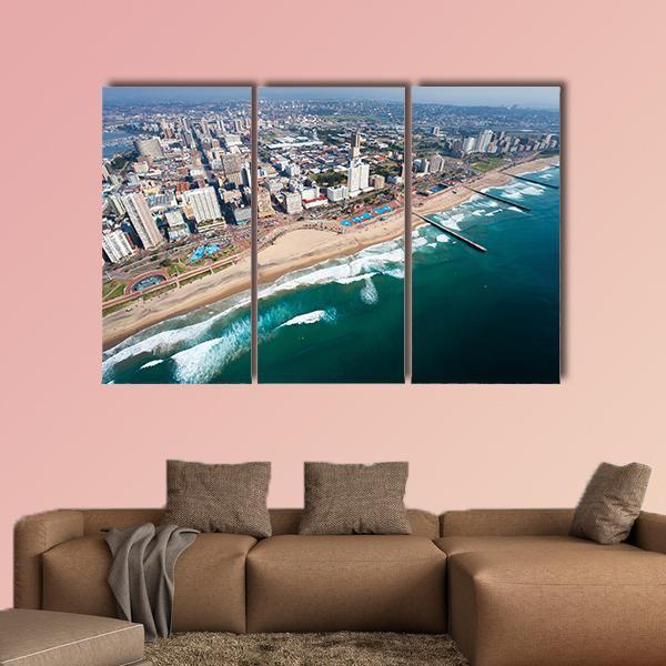 Aerial View Of Durban In South Africa Multi Panel Canvas Wall Art 4 Pieces / Medium / Canvas Tiaracle