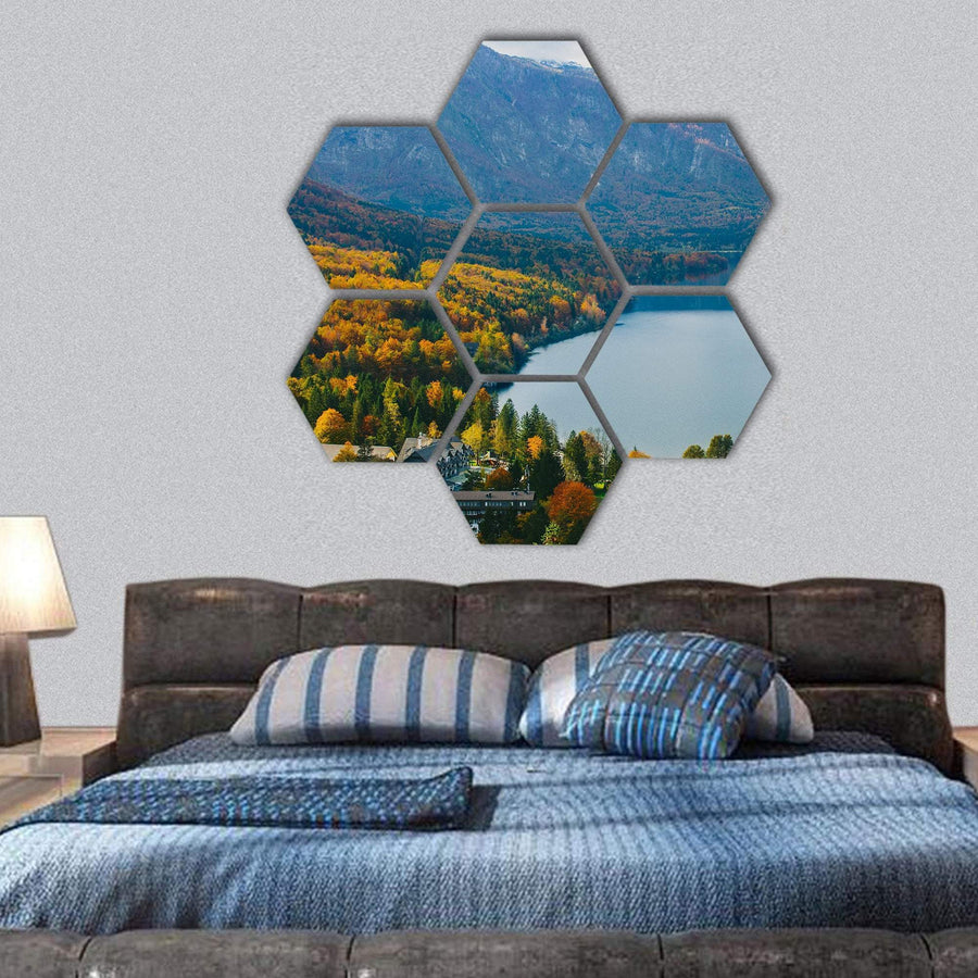 View Of Famous Bohinj Lake Hexagonal Canvas Wall Art 1 Hexa / Small / Gallery Wrap Tiaracle