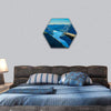 View Of Fjord In Oslo Person On Mountain Cliff Hexagonal Canvas Wall Art 1 Hexa / Small / Gallery Wrap Tiaracle