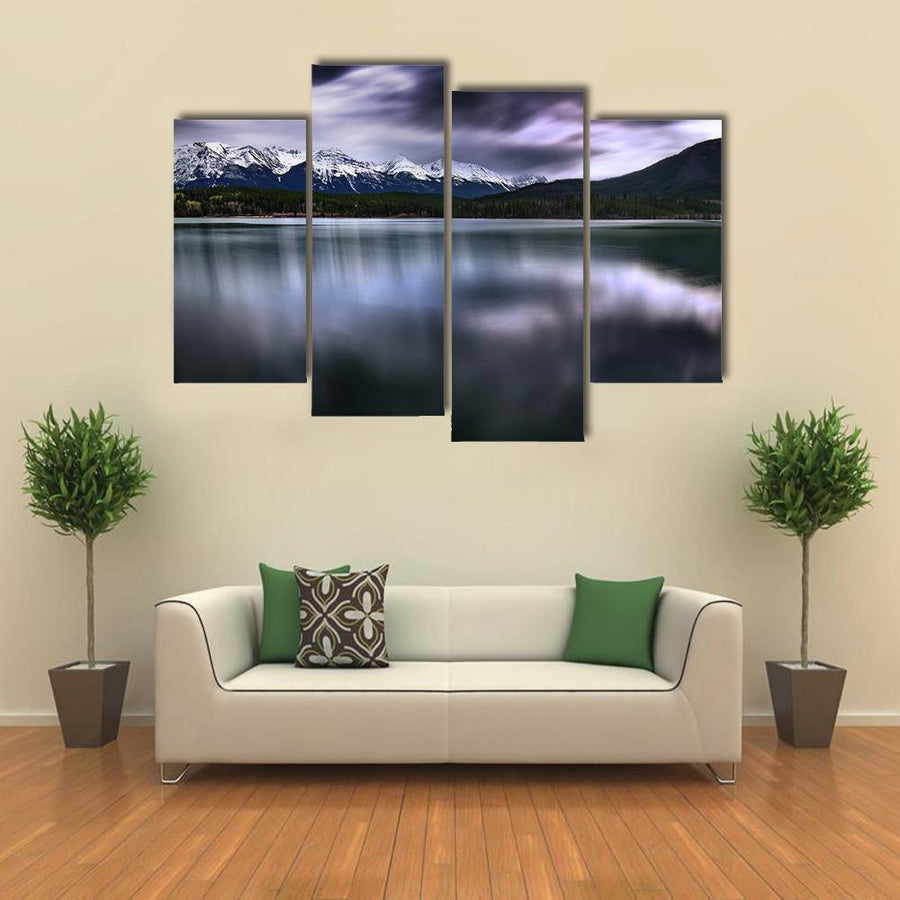View Of Forest And Mountain With Lake Multi Panel Canvas Wall Art 3 Pieces / Medium / Canvas Tiaracle