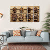 View Of Four Different Varieties Of Beans With Their Powder Multi Panel Canvas Wall Art 5 Horizontal / Small / Gallery Wrap Tiaracle