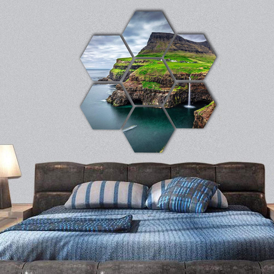 View Of Gasadalur Waterfall In Faroe Island Hexagonal Canvas Wall Art 1 Hexa / Small / Gallery Wrap Tiaracle