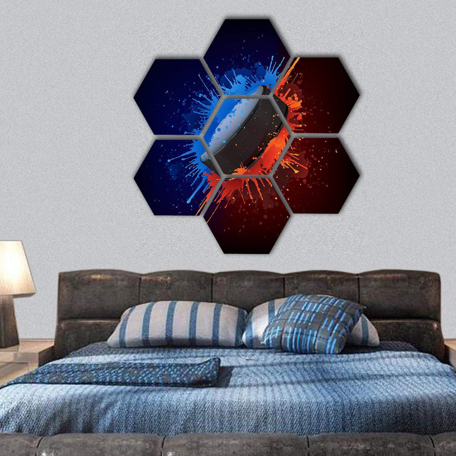 View Of Hockey Puck Hexagonal Canvas Wall Art 1 Hexa / Small / Gallery Wrap Tiaracle