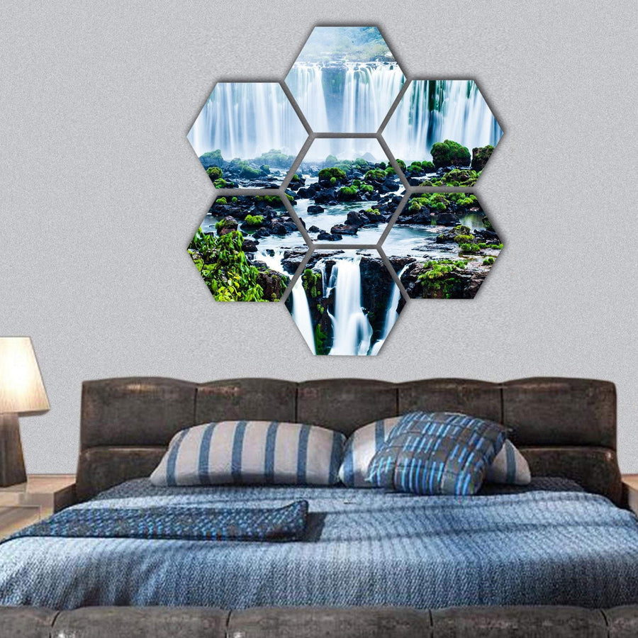 View Of Iguassu Falls Hexagonal Canvas Wall Art 1 Hexa / Small / Gallery Wrap Tiaracle