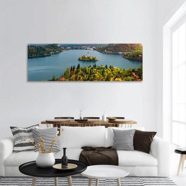 View Of Lake Bled In Slovenia Panoramic Canvas Wall Art 3 Piece / Small Tiaracle