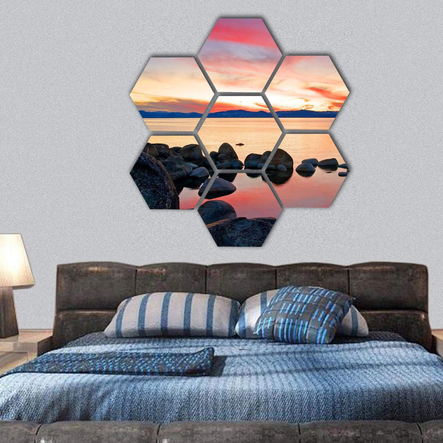 View Of Lake Tahoe At Sunrise Hexagonal Canvas Wall Art 1 Hexa / Small / Gallery Wrap Tiaracle