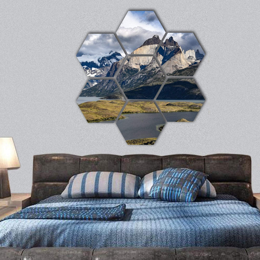 View Of Los Cuernos And Lago Nordenskjold Hexagonal Canvas Wall Art 1 Hexa / Small / Gallery Wrap Tiaracle
