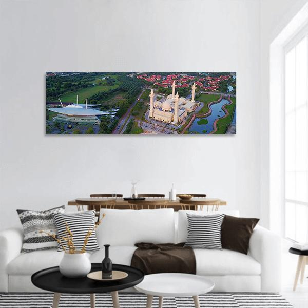 View Of Majestic Mosque At Shah Alam Panoramic Canvas Wall Art 3 Piece / Small Tiaracle