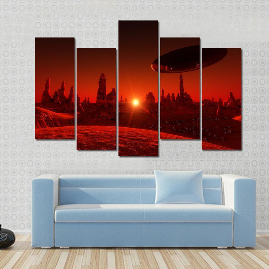 View Of Mars And Spaceship At Sunset Multi Panel Canvas Wall Art 3 Pieces / Small / Gallery Wrap Tiaracle