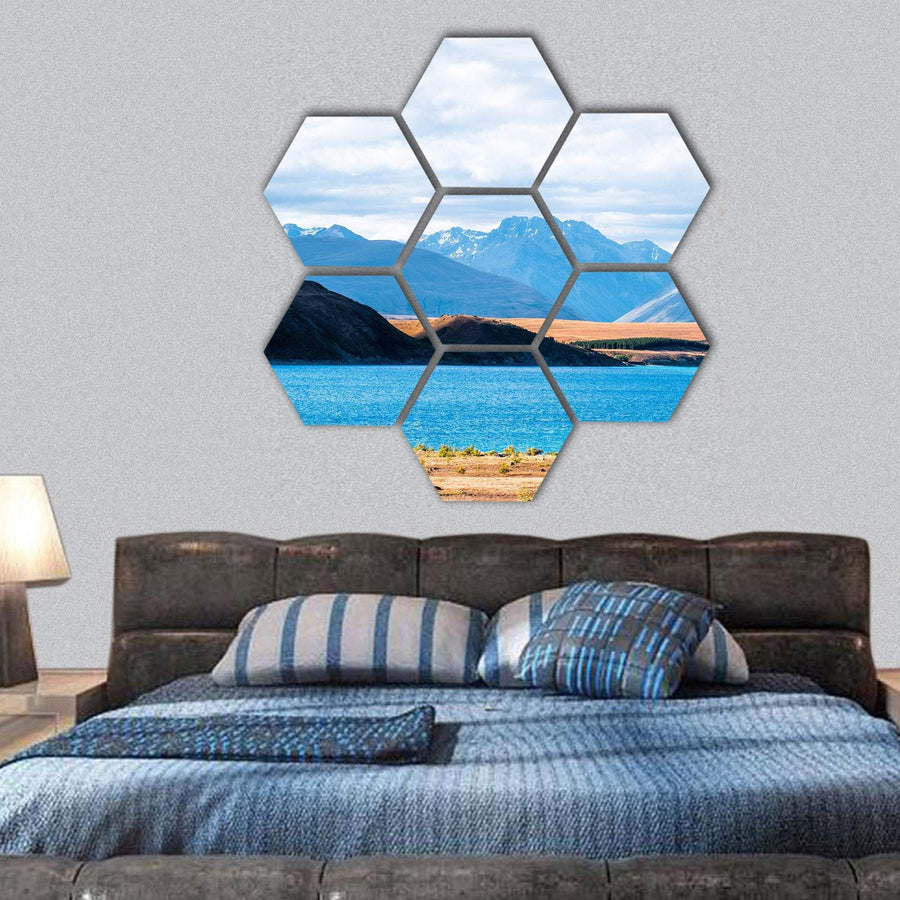 View Of Mount Cook Beside Lake Tekapo Hexagonal Canvas Wall Art 1 Hexa / Small / Gallery Wrap Tiaracle