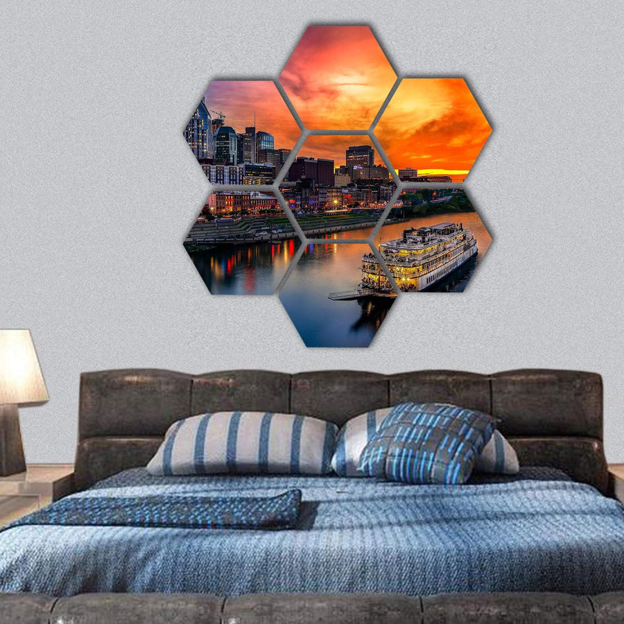 View Of Nashville Skyline Hexagonal Canvas Wall Art 1 Hexa / Small / Gallery Wrap Tiaracle