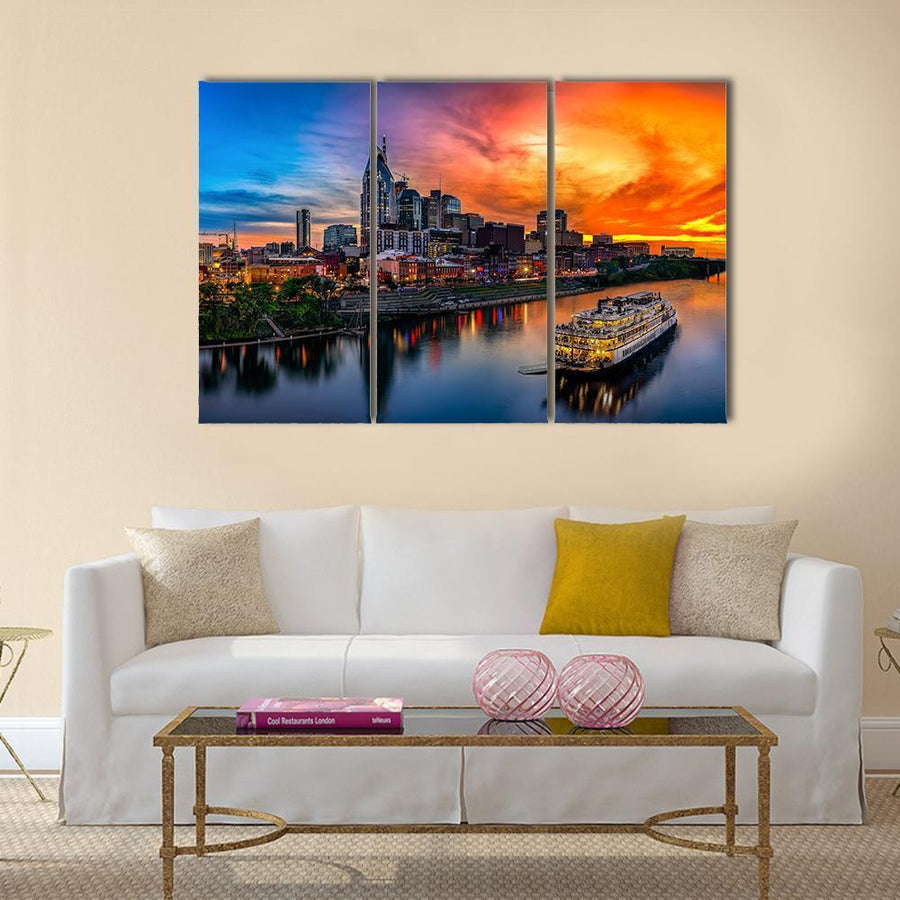 View Of Nashville Skyline Multi Panel Canvas Wall Art 1 Piece / Medium / Canvas Tiaracle