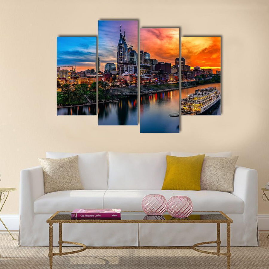 View Of Nashville Skyline Multi Panel Canvas Wall Art 3 Pieces / Medium / Canvas Tiaracle