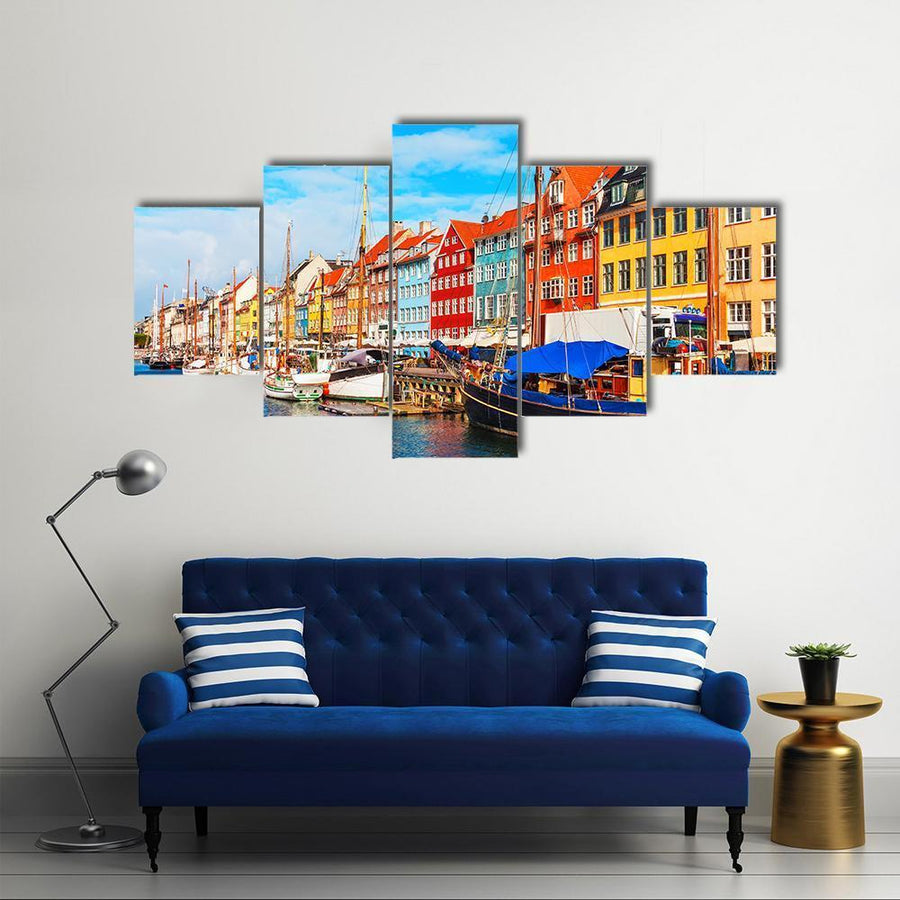 View Of Nyhavn Pier With Buildings And Ships Canvas Panel Painting Tiaracle